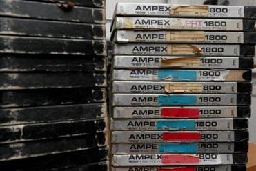 Stacks tapes of Geller broadcasts that Ken and Bob Philpot are working on restoring.
